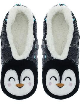Sequin Penguin Slipper Sock M/L by Capelli New York