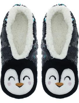 Sequin Penguin Slipper Socks S/M by Capelli New York