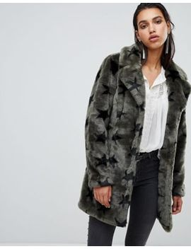 Goosecraft Faux Fur Jacket With Stars by Goosecraft