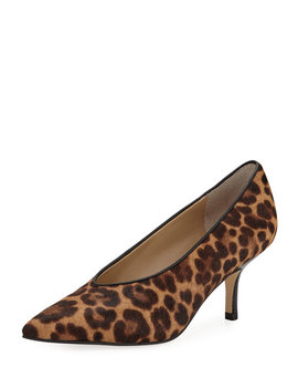Dallonly Leopard Print Calf Hair Kitten Pumps by Marc Fisher