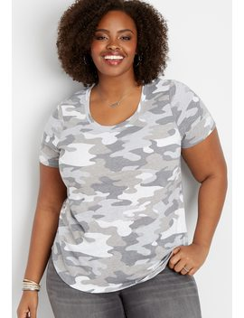 Plus Size 24/7 Scoop Neck Camo Tee by Maurices