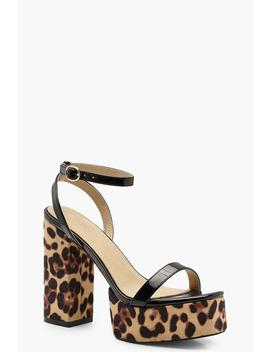 Leopard Print Platform Two Part Heels by Boohoo