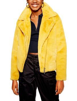 Lily Faux Fur Biker Jacket by Topshop