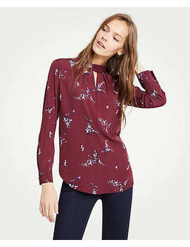 Bouquet Roll Neck Keyhole Blouse by Ann Taylor
