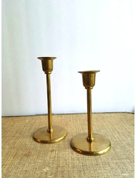 Brass Mid Century Modern Candle Sticks by Etsy