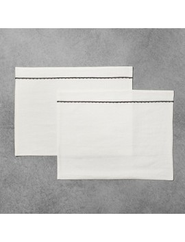 Placemat Set Of 2   White With Black Embroidery   Hearth & Hand™ With Magnolia by Shop This Collection