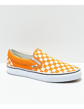 Vans Slip On Cheddar & White Checkerboard Skate Shoes by Vans