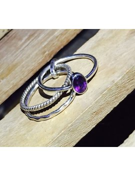Natural Purple Amethyst Cut Ring   925 Sterling Silver Gemstone Ring   Wedding Ring   Handmade Stacking Ring by Etsy