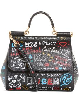 Medium Sicily Graffiti Print Leather Satchel by Dolce&Gabbana