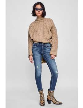 Jeans Z1975 With Asymmetric Hem  Distressed Concepts Jeans Woman by Zara