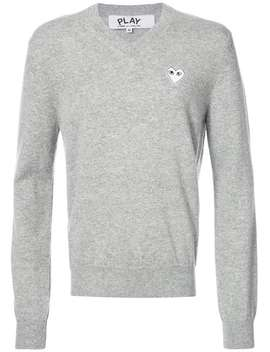 V Neck Pullover With White Heart by Comme Des Garçons Play