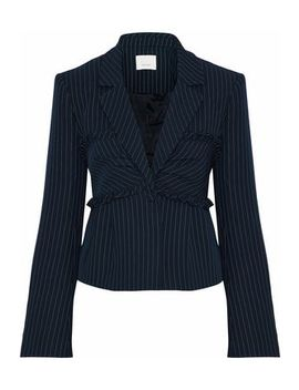 Ruffle Trimmed Pinstriped Twill Blazer by Cinq À Sept