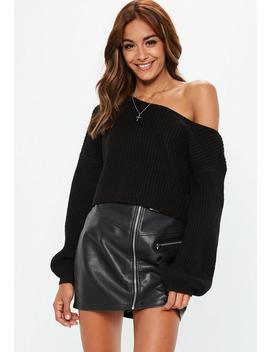 Black Off Shoulder Balloon Sleeve Sweater by Missguided