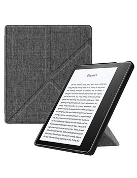 """Fintie Origami Case For Kindle Oasis (9th Gen, 2017 Release Only)   Slim Fit Stand Cover Support [Hands Free] Reading With Auto Wake / Sleep For Amazon All New 7"""" Kindle Oasis, Denim Charcoal by Fintie"""