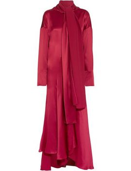 Alida Asymmetric Silk Satin Maxi Dress by Roksanda