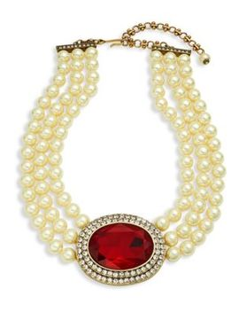Faux Pearl Oval Center Necklace by Heidi Daus
