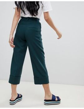 Monki Cropped Tailored Trousers In Dark Green by Monki