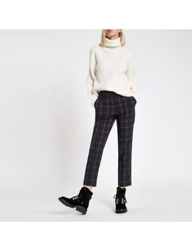 Navy Check Straight Leg Trousers by River Island