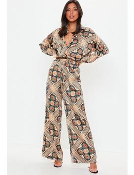 Navy Satin Paisley Print Wide Leg Pants by Missguided