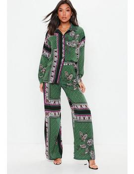 Green Wide Leg Satin Paisley Pants by Missguided