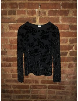Vintage 90s Black Burnout Floral Pattern Velvet Long Sleeve Stretchy Fitted Crop Top By Barami by Etsy