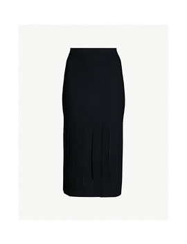 Pleated Stretch Knit Midi Skirt by Theory
