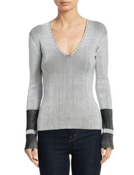Optic Stripe V Neck Sweater by Theory