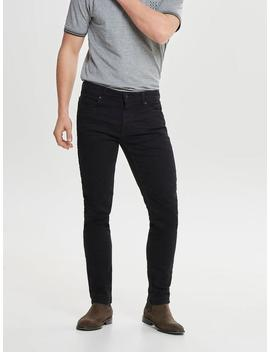 Slim Fit Solid Black Stretch Jeans by Only & Sons