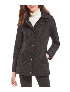 Snap Front Detachable Hood Quilted Coat by Calvin Klein