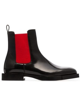 Black And Red Chelsea Leather Boots by Alexander Mc Queen
