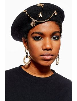 Black Charm Beret by Topshop