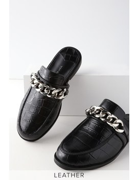 Dion Black Leather Croc Loafer Slides by Tony Bianco
