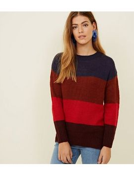 Petite   Pull Rouge à Rayures Color Block by New Look