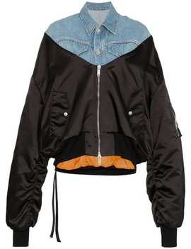 Denim Panelled Bomber Jacket by Unravel Project
