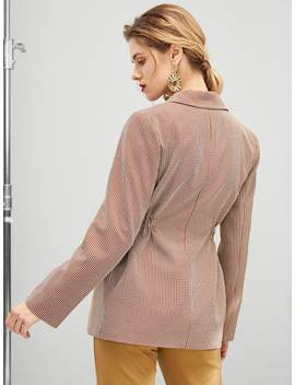 Waist Drawstring Button Pocket Plaid Blazer by Shein
