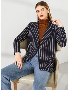 Double Breasted Notched Neck Striped Blazer by Shein