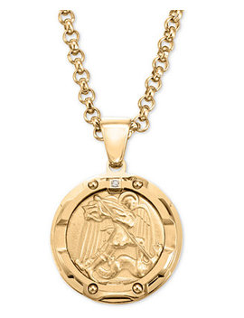 """Men's Diamond Accent St. Michael Medallion 24"""" Pendant Necklace In Yellow Ion Plated Stainless Steel by Macy's"""