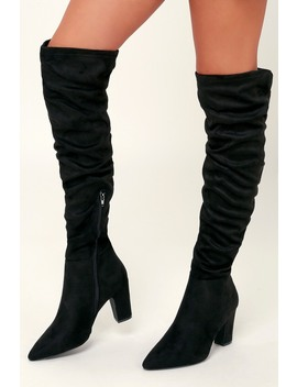 Rami Black Suedette Over The Knee Boots by Chinese Laundry