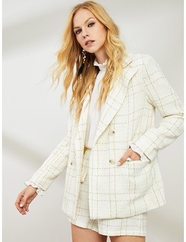 Double Button Notched Neck Plaid Blazer by Shein