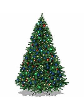 Led Tree Pre Lit Pine Artificial Christmas Lights Stand Fiber Optic Multi Green Tree With 350 Multicolor Led Lights 6 Ft by Grace Shop