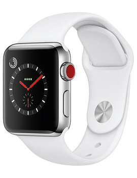 AppleWatch Series3 Gps+Cellular, 38mm Silver Aluminum Case With White Sport Band by Apple Watch Series 3
