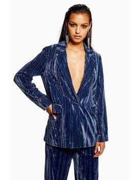 Petite Crinkle Velvet Jacket by Topshop