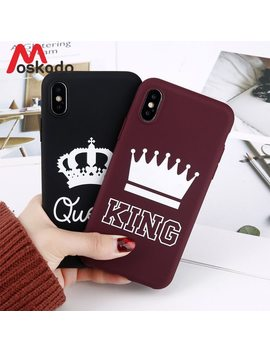 Moskado King Queen Crown Phone Case For Iphone Xr Xs Max X 8 7 6 6s Plus Case Fashion Stylish Soft Tpu Cover For Iphone 5 5s Se  by Moskado