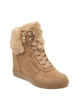 Aie Faux Fur Rhinestone Boots by Guess