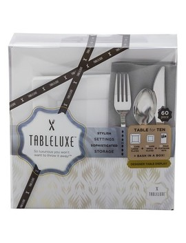 Tableluxe Table For 10 With Gray Pocket Napkins, 60ct. by Tableluxe