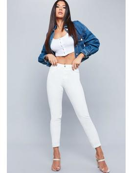 Riot White High Rise Mom Jeans by Missguided