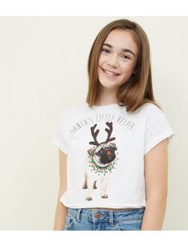 Girls White Pug Christmas T Shirt by New Look