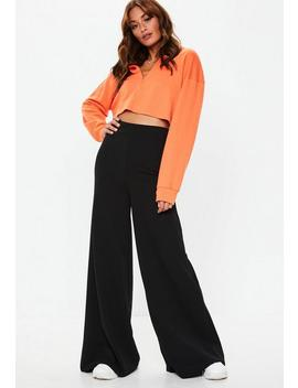 Petite Black High Waisted Wide Leg Pants by Missguided