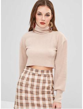 Raw Hem Turtleneck Sweater   Beige S by Zaful