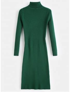 Slit Turtleneck Sweater Dress   Green by Zaful